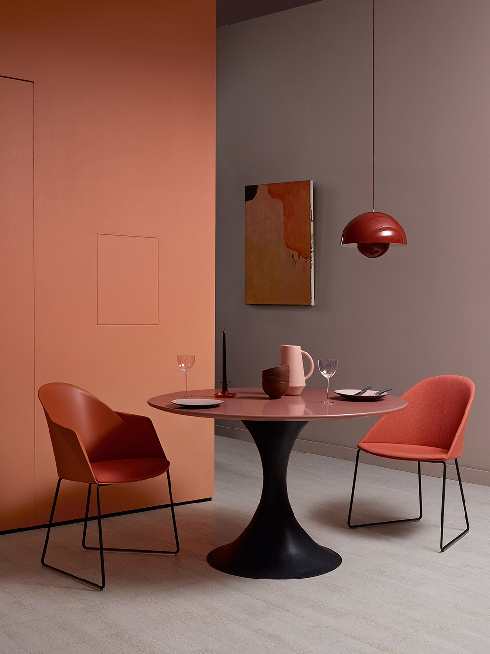 Orange dining table and chair